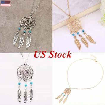 Turquoise Alloy Feather Tassel Dream Catcher Charm Beads Boho Pendant Necklace