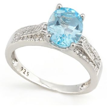 2.03ctw Genuine Blue Topaz With Diamond, Solid .925 Sterling Silver ring