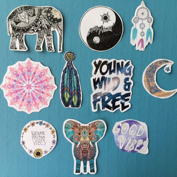 Tumblr stickers / boho stickers / bohemian stickers/ laptop sticker ( pack of 10 ) sticker pack / laptop sticker / phone stickers