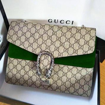 GUCCI Fashion Hot Selling Spicy Girls Alcoholics Shoulder Bag Shopping Bag Army green