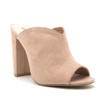 Casual Love Mule Slip On Heels In Taupe
