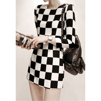 Checkered Print Long Sleeve Mini Dress