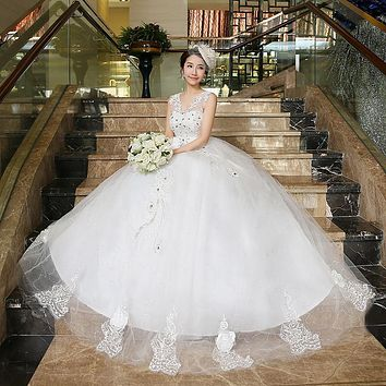 2016 new Style Korean White Lace up bow White Wedding Dresses strapless wedding frocks pincess flowers wedding dress ball gowns