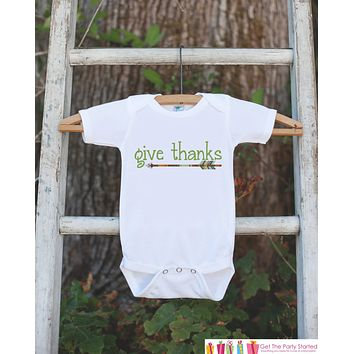 Kids Give Thanks Outfit - Thanksgiving Shirt - Kids Thankful Thanksgiving Shirt or Onepiece - Boy or Girl Green Arrow Thanksgiving Outfit