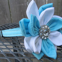 Dog Collar and Flower - MADE TO ORDER Baby blue collar and blue and white flower