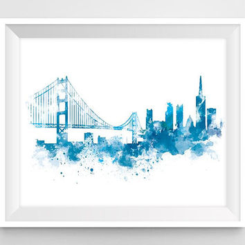 San Francisco Skyline Print, California, Cityscape, Art Print, Watercolor, Home Decor, Urban, Travel, City, Wall Art, Gift, Download