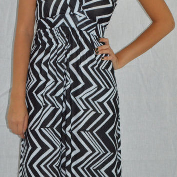 Chevron Print Black and White Maxi Dress
