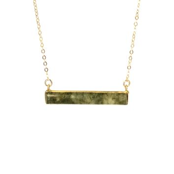 New Gemstone Bar Necklace in Labradorite