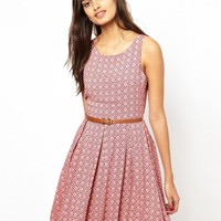 Glamorous Belted Skater Dress in Tile Print