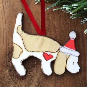 Beagle Christmas decoration/ornament, lemon and white beagle dog lover gift, wooden christmas tree decoration