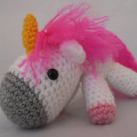 Charley the unicorn amigurumi so fluffy pink by LottiesCreations