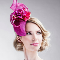 Fuchsia Straw Tear Shaped Headpiece Head Band Fascinator Summer Wedding Statement Floral Hat Hair Accessory Flower Wedding Accessories