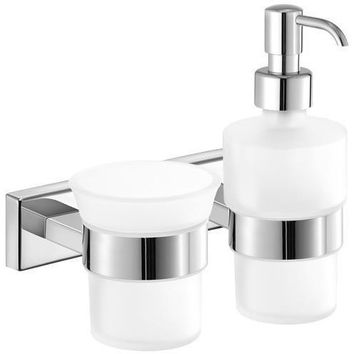 SCBA Enigma Wall Frosted Glass Pump Soap Lotion Dispenser & Bath Tumbler Set