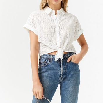 Eyelet Self-Tie Button-Down Shirt