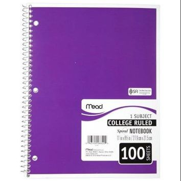 Mead Spiral Notebook, College Ruled, 1 Subject, 8.5 x 11, 100 Sheets, Assorted Colors (06622) - Walmart.com