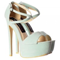 Onlineshoe Strappy Cross Over Pastel Stiletto Platform High Heel Party Shoes - Mint Suede, Fucshia Suede - Onlineshoe from Onlineshoe UK