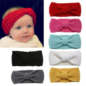 Baby Turban Stretch Knot Hairband Infants Cute kids Cotton Soft Hair Accessories Winter Warm Wool Knit Headband Kids 7 Color