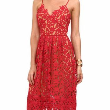 Ladies Hollow Out Fit & Flare Lace Cami Dress Plain Spaghetti Strap Sleeveless V Neck Midi A Line Dress