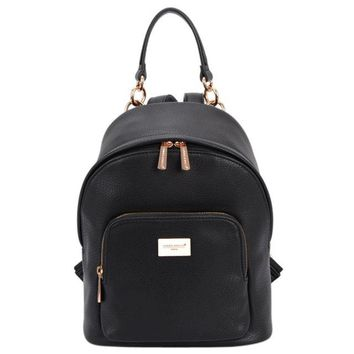 University College Backpack DAVIDJONES Women s Women's PU Leather s Female School Shoulder bags Teenage girls  student casual bagAT_63_4