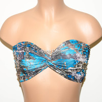 PADDED Blue Camo Bandeau Top, Swimwear Bikini Top, Twisted Top Bathing Suits, Spandex Bandeau Bikini