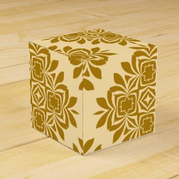 Golden Brown Damask Pattern Favor Box