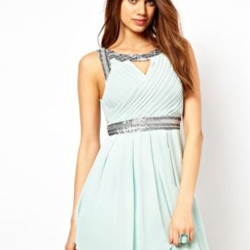 TFNC Grecian Skater Dress with Embellished Trim at asos.com