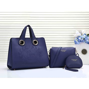 Burberry Fashionable Women Shopping Bag Leather Handbag Tote Shoulder Bag Purse Set Three-Piece Blue