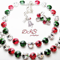 Christmas Memories, Swarovski Necklace Set, 12mm, Crystal, Holiday, Red, Green,Classy, DKSJewelrydesigns, FREE SHIPPING