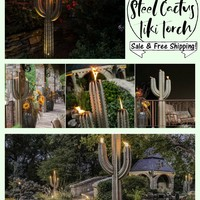 Outdoor Garden Steel Cactus Tiki Torch