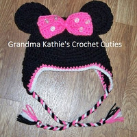 Minnie Mouse Inspired Crochet Hat for Baby, Child, Toddler, Mouse Ears. Minnie Mouse Hat, Disney Minnie Mouse,Minnie Mouse Photo Prop
