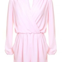LOVE Ice Cream Pink Long Sleeve Wrap Front Playsuit