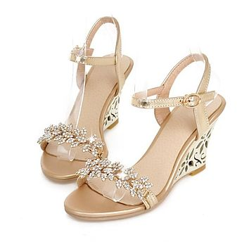 Rhinestone Platform Sandals Women Pumps Ankle Straps Wedges High Heels Shoes Woman