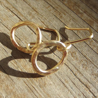 Small Gold Earrings, Small Gold Hoops, Solid 14k Gold Earrings