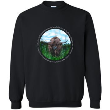 Highland Cow My Heart's In The Highlands Robert Burns Poem Printed Crewneck Pullover Sweatshirt