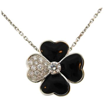 Van Cleef & Arpels Cosmos Black Onyx Diamond White Gold Pendant Clip Pin Brooch