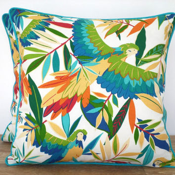Tropical cushion cover outdoor fabric, green and turquoise outdoor pillow case, tropical island decor, palm tree pillow outdoor garden bench