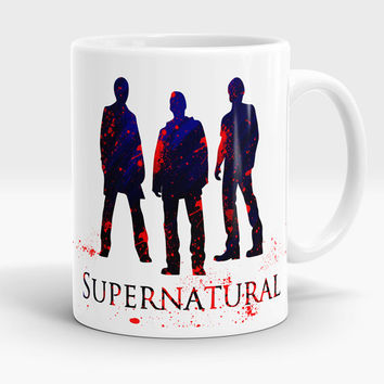 Supernatural mug, Watercolor Mug art, Sam Winchester, Dean Winchester and Castiel silhouette coffee cup