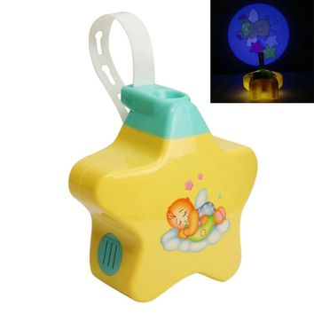 Baby Yellow Night Light Projector Starlight Star Dreamshow Musical Light Battery Power Cot Mobile Toys For Baby Top Gift