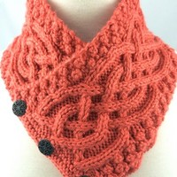 Irish Celtic Knot Neckwarmer Trinity Knot Persimmon Handknit Orange
