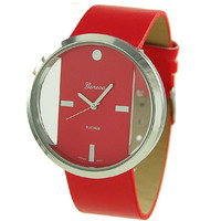 Hollow See Through Transparent Wrist Watch - Unisex Red Watch