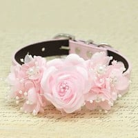 Pink Floral wedding dog collar, handmade Pink flower with Peals, Wedding pets accessory, love pink