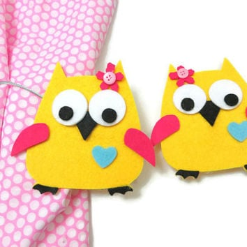 Curtain Holders- Curtain Tie Backs Magnet With Yellow Owls