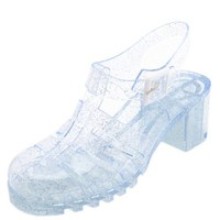 CLEAR GLITTER LUG HEEL JELLY SANDALS