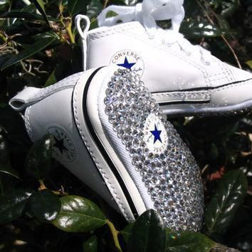 converse chuck taylor first star genuine swarovski embellished crib shoes
