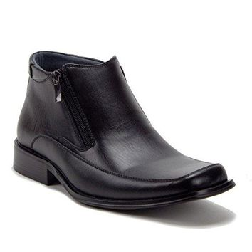 New Men's 87244 Leather Lined Double Zipped Ankle Boots