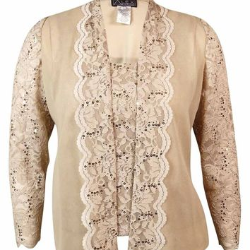 Alex Evenings Women's Sequined Lace Blouse Set