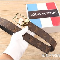Louis Vuitton Woman Men Fashion Smooth Buckle Leather Belt