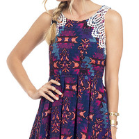 Tribal Purple Printed Fit and Flare Dress