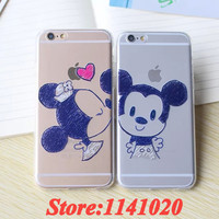 Ultra Thin Transparent TPU Mickey Minnie Mouse Lovely Coque Caso for iPhone 5 5S 6 6S Plus Phone Cases Cover Lovers Sweetheart