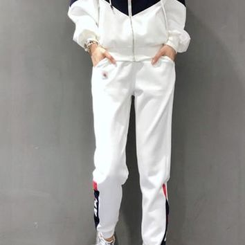 """FILA"" Woman Casual  Wild Fashion Letter Printing Spell Long  Sleeve  Trousers Two-Piece Sportswear"